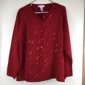 Dress Barn Red Beaded Sequined Cardigan 18-20